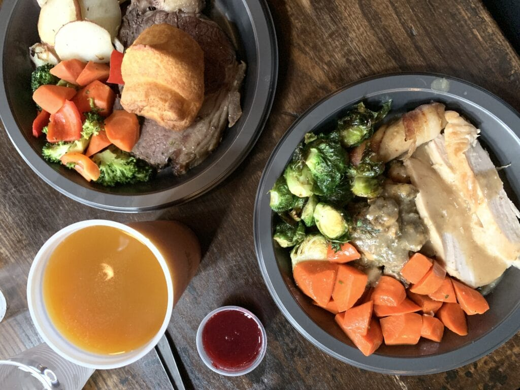 Holiday meal during Universal Studios Hollywood Christmas