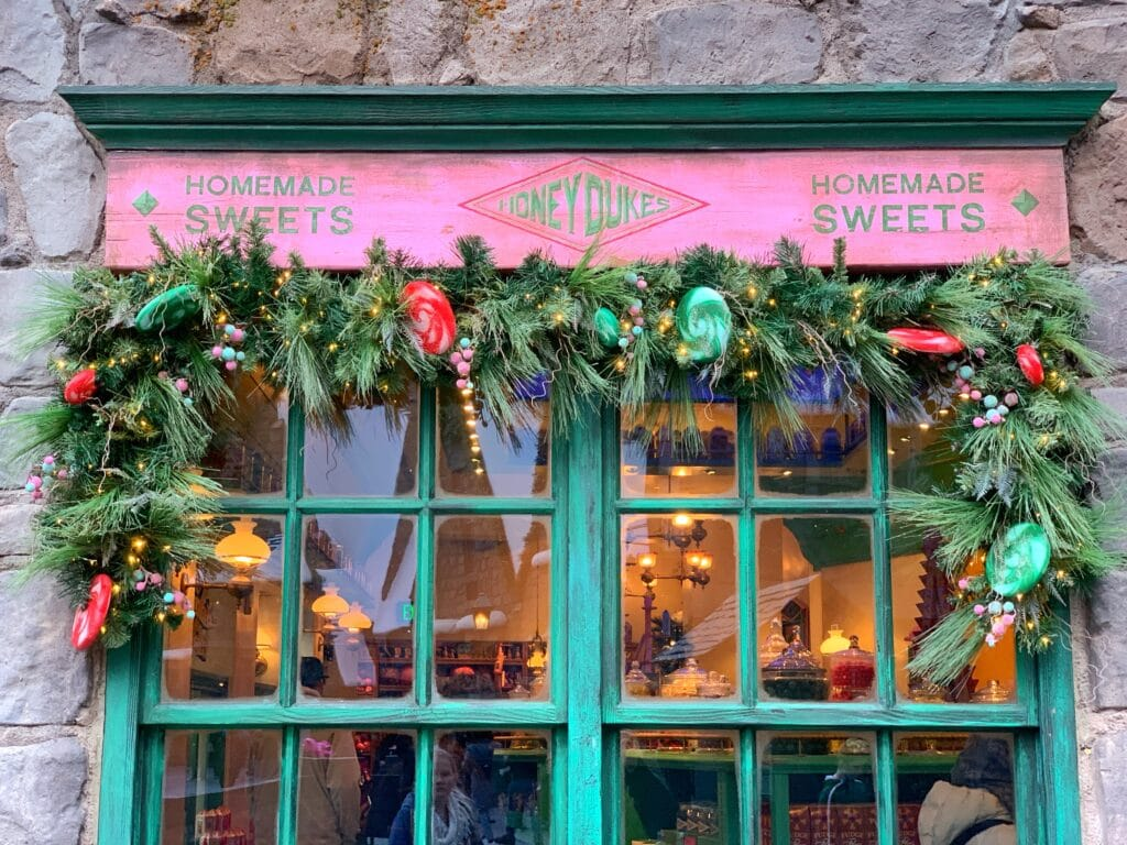 Honeydukes at Christmas at Wizarding World of Harry Potter Universal Studios Hollywood