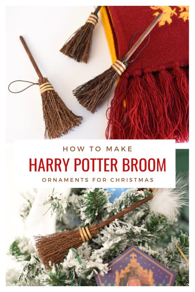 How to make Harry Potter broom ornaments for a very Harry Christmas! Make adorable Harry Potter Christmas ornaments in just a few minutes.