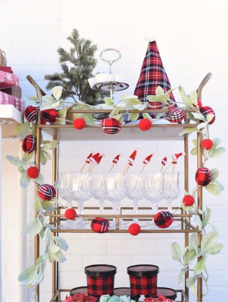 Favorite things Christmas pajama party and bar cart