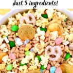 leprechaun bait with popcorn, chocolate coins, green candy, and pretzels