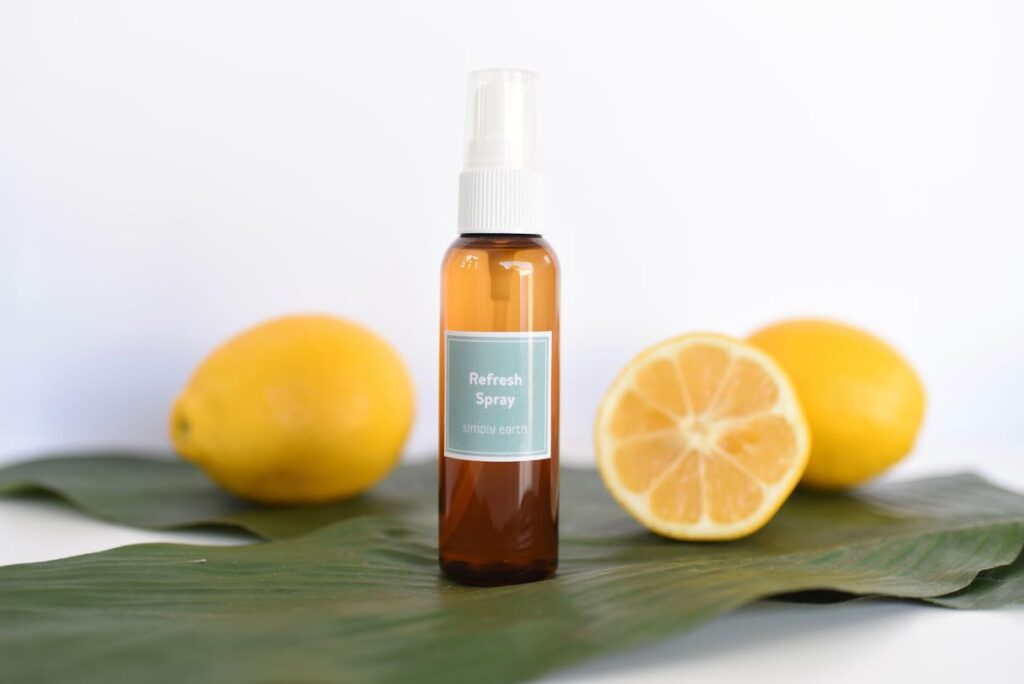 Essential oil fabric refresher spray