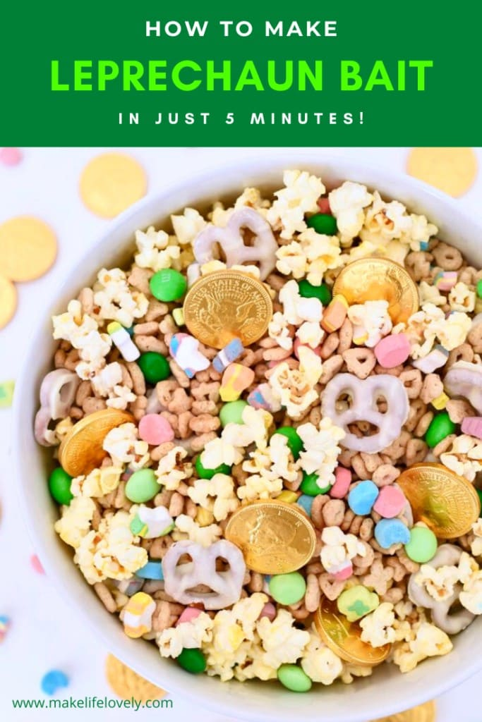 large bowl filled with gold coins, Lucky Charms cereal, green candy, and pretzels leprechaun bait