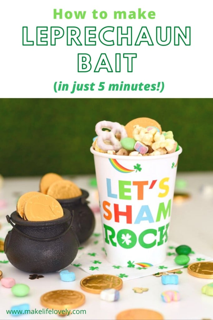 Lerprechaun bait with Lucky Charms cereal, pretzels, popcorn, green candy, and gold coins