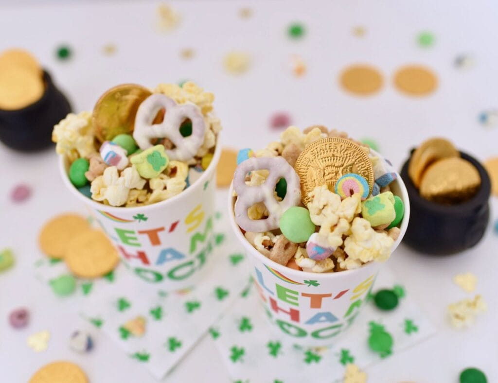 cups with leprechaun bait snack mix and gold coins inside