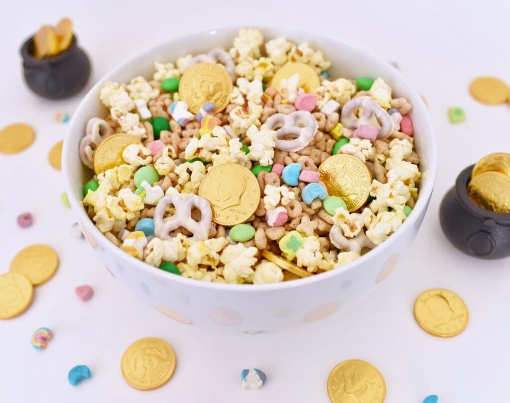 gold coins, Lucky Charms cereal, popcorn, and candy inside