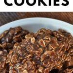 Oatmeal chocolate no bake cookies on plate