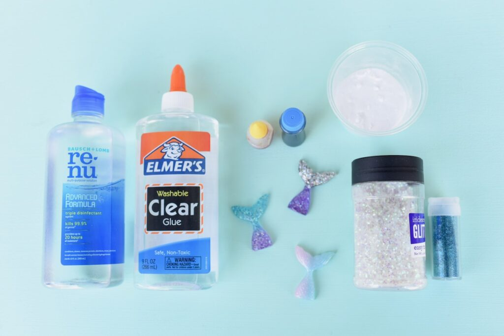 Mermaid slime supplies contact lens solution, clear glue, mermaid tails, glitter