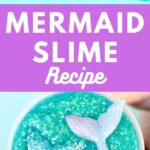 Teal slime with glitter and mermaid tails