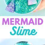 Teal mermaid slime in container