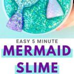 Turquoise mermaid slime with glitter mermaid tails