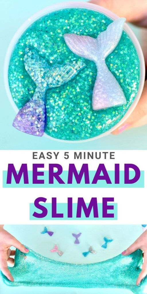Turquoise mermaid slime with glitter mermaid tails