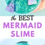 Turquoise slime with glitter mermaid tails