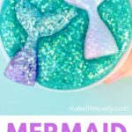 Teal glitter slime with mermaid tails inside