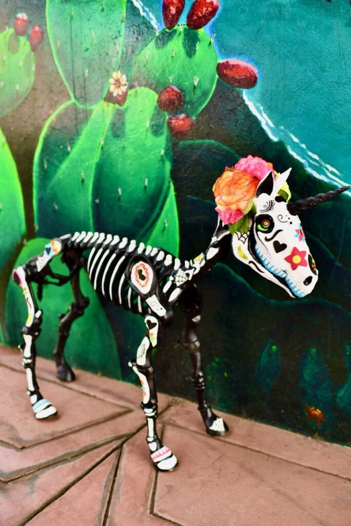 Day of the dead animals unicorn skeleton