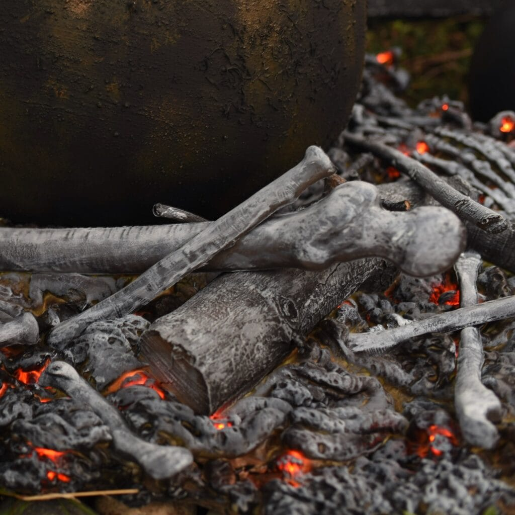 Halloween fake fire with bones and sticks