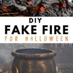 fake fire prop with cauldron