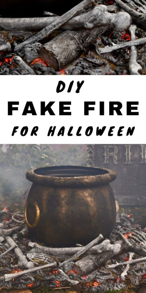 Fake fire prop with large cauldron