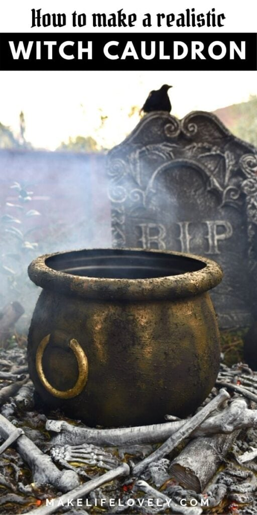 Witches cauldron with bones and fire Halloween decoration