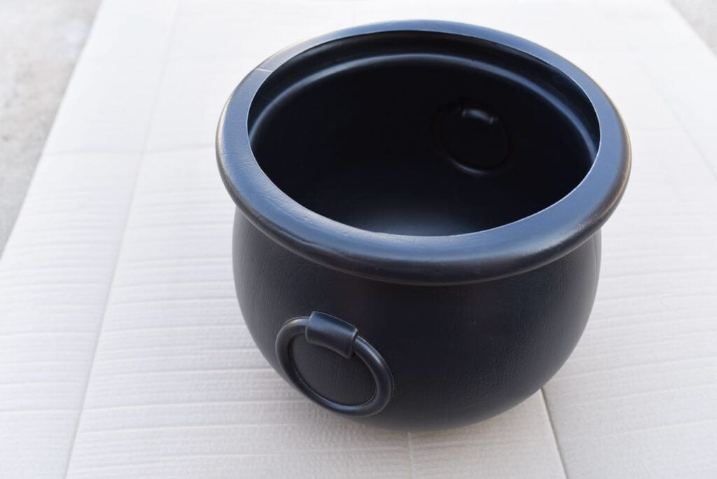 Large black witch cauldron
