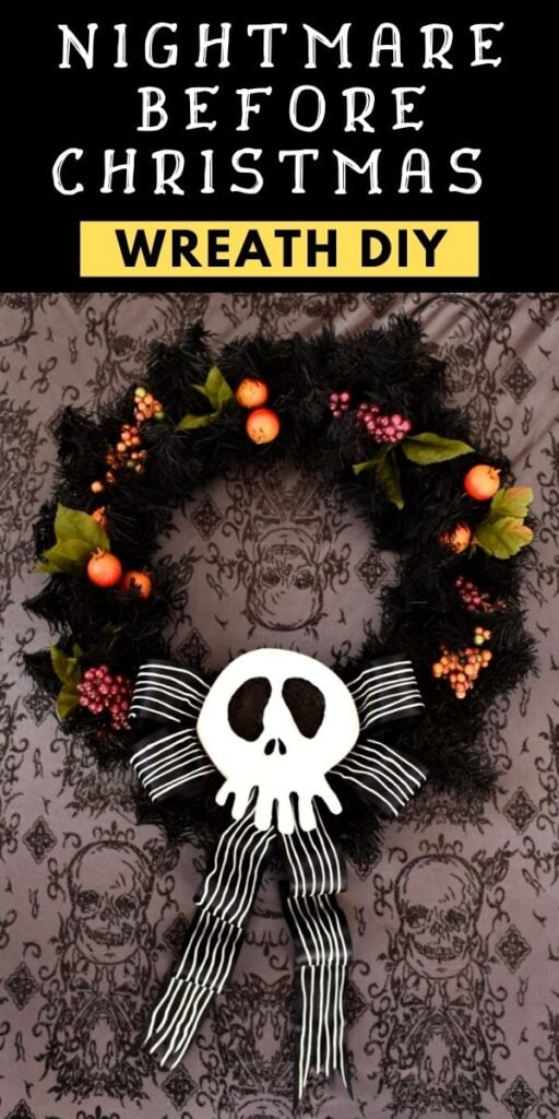 Nightmare Before Christmas wreath with white Jack Skellington skull