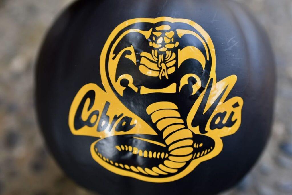 Cobra Kai logo on black pumpkin