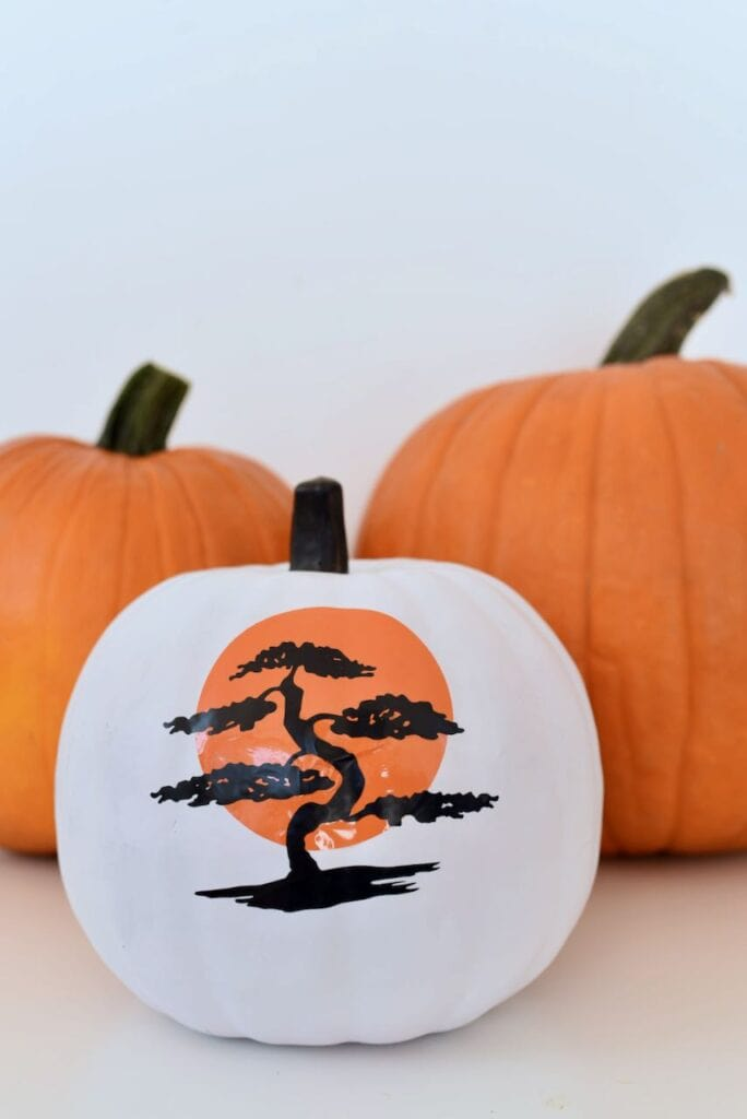 White Halloween pumpkin with Miyagi Do logo