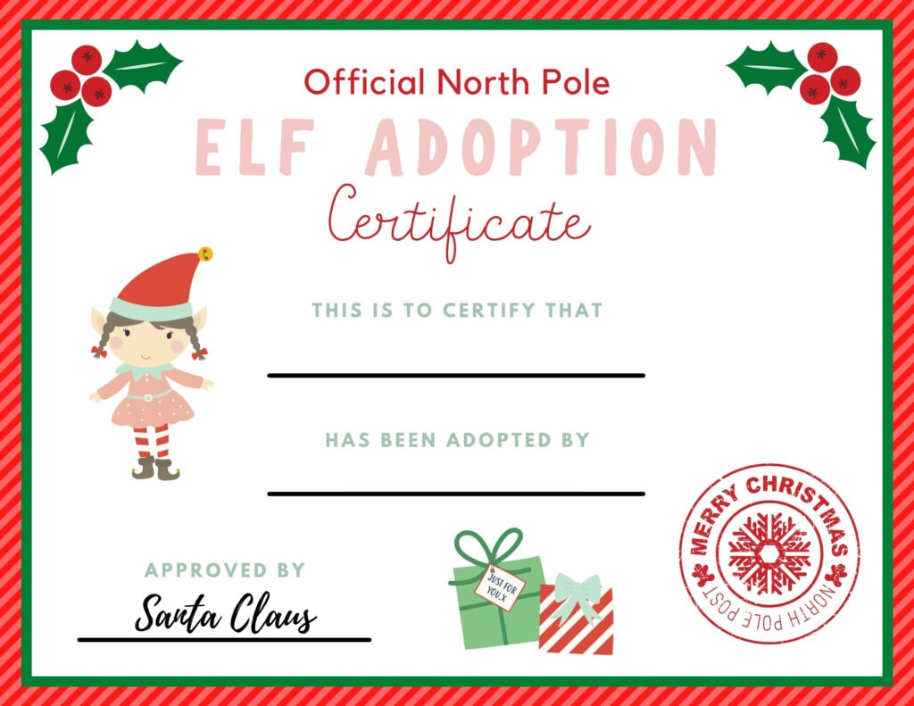 girl elf on certificate