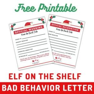 elf on the shelf behavior letters