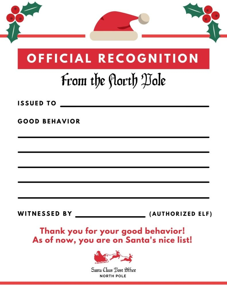 elf on the shelf good behavior letter