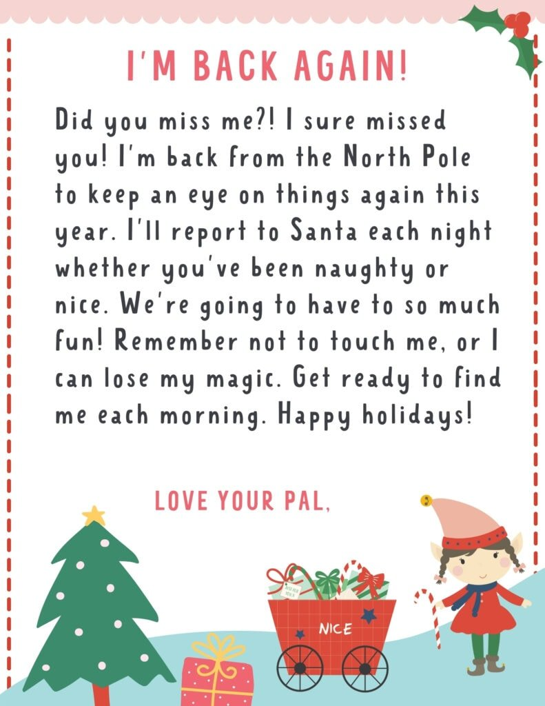 letter to kids from elf on the shelf