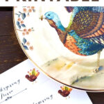 turkey plate with Thanksgiving trivia printable
