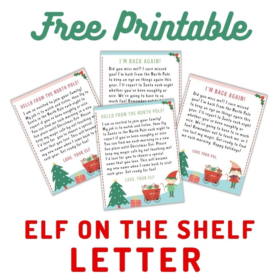 four elf on the shelf letters