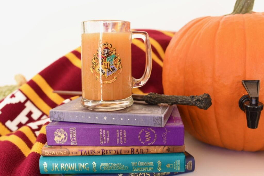 mug with pumpkin juice by wand on Harry Potter books