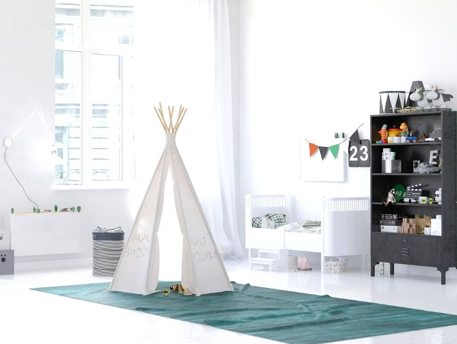 white tepee in child's room