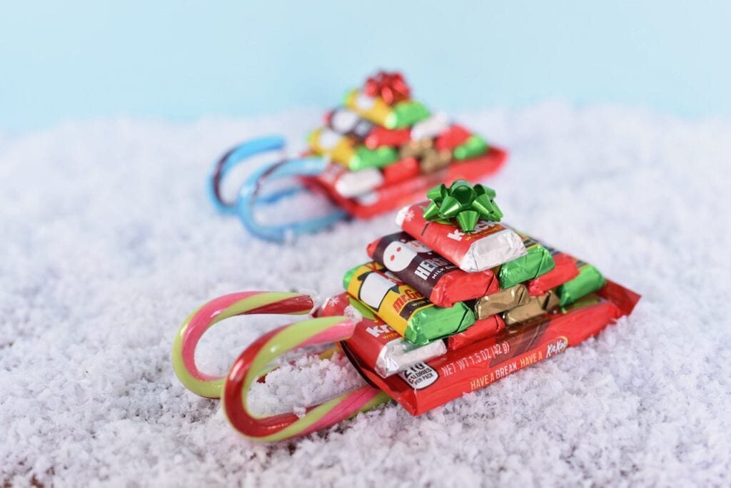 Christmas candy sleighs in snow