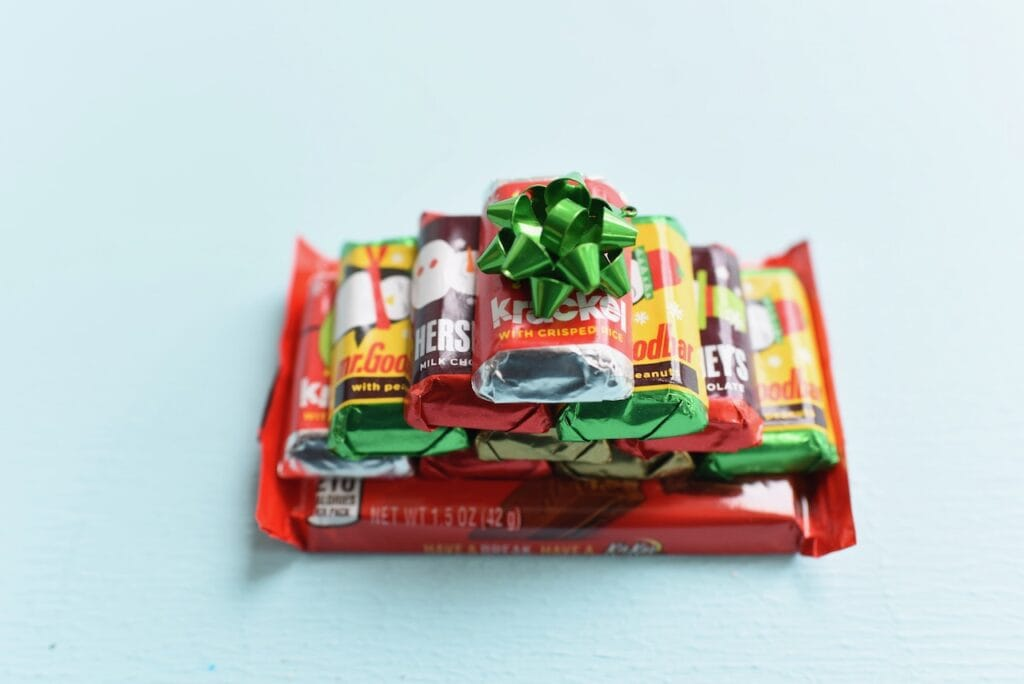 mini chocolates stacked with bow on top