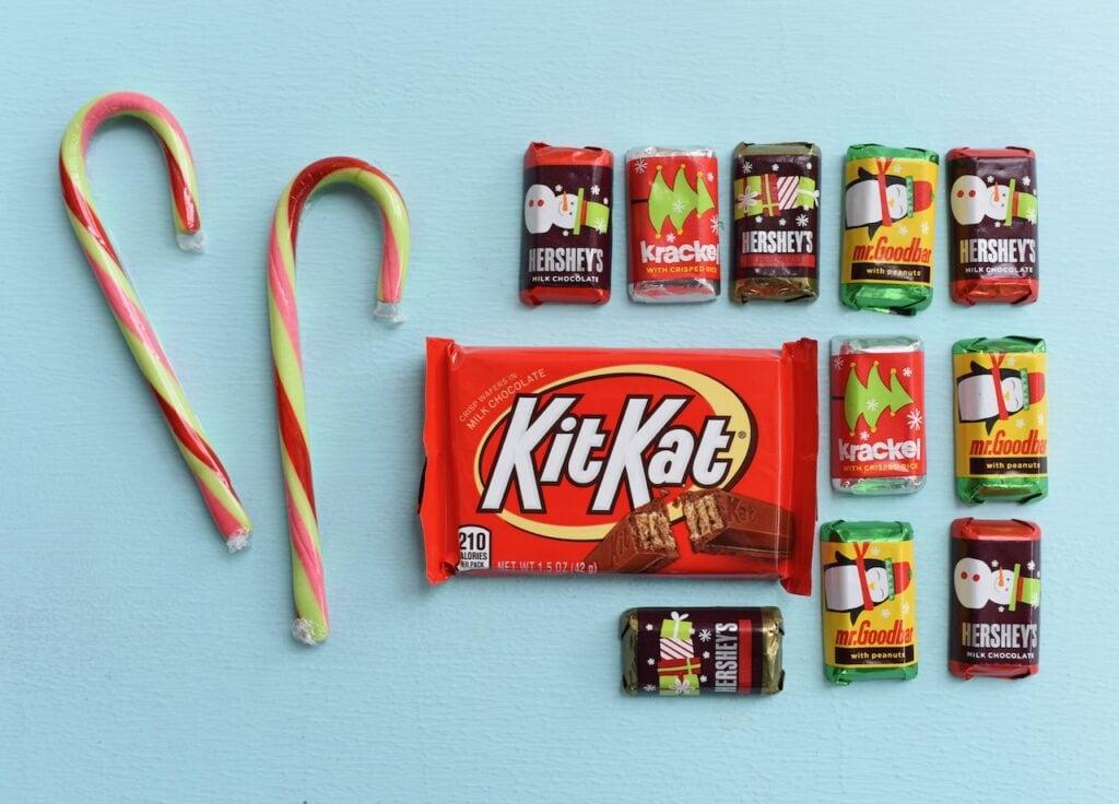 candy canes, Kit Kat chocolate bar, and mini chocolate bars