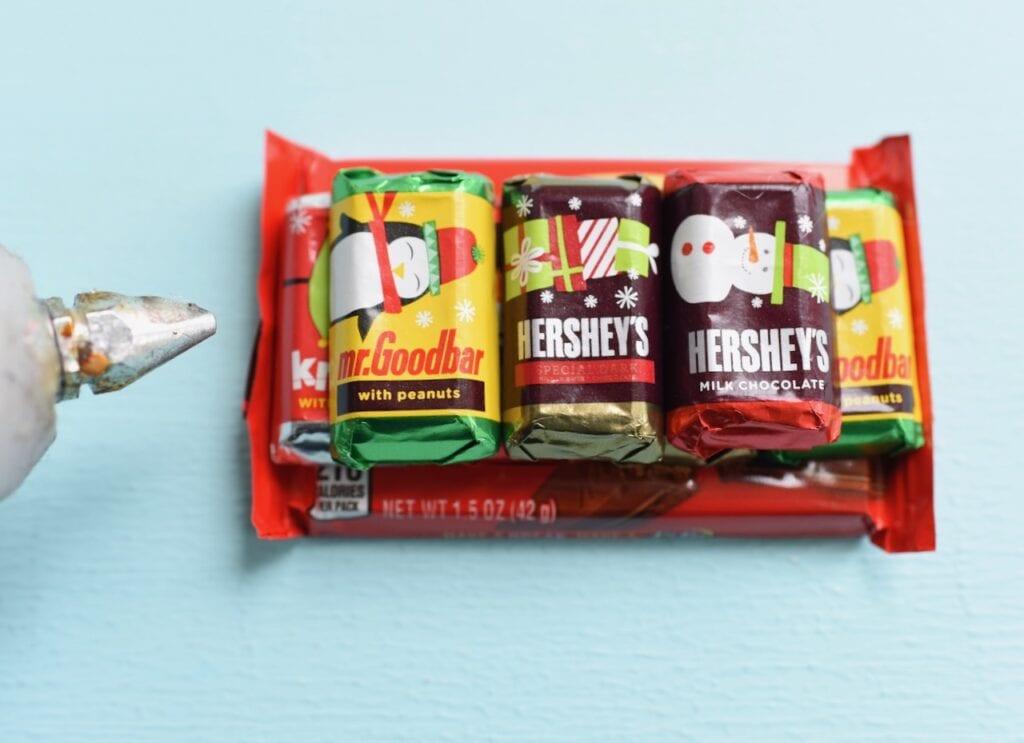 mini chocolate bars stacked on Kit Kat candy bar