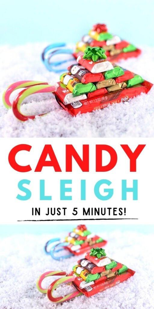 candy sleigh with candy canes and chocolate bars