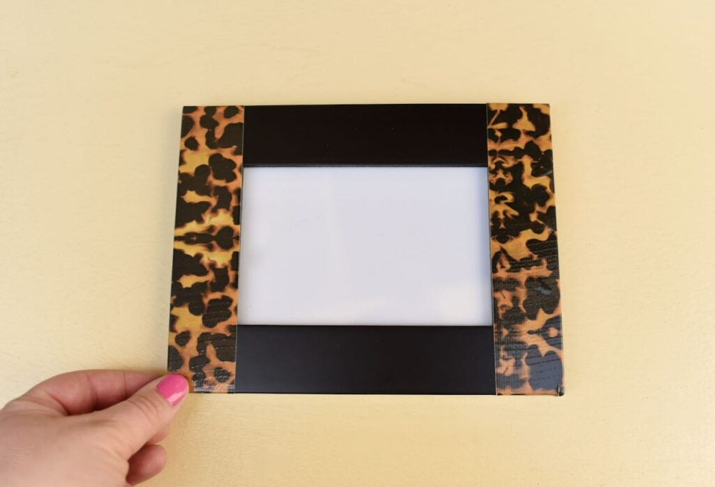 tortoise shell tape on picture frame