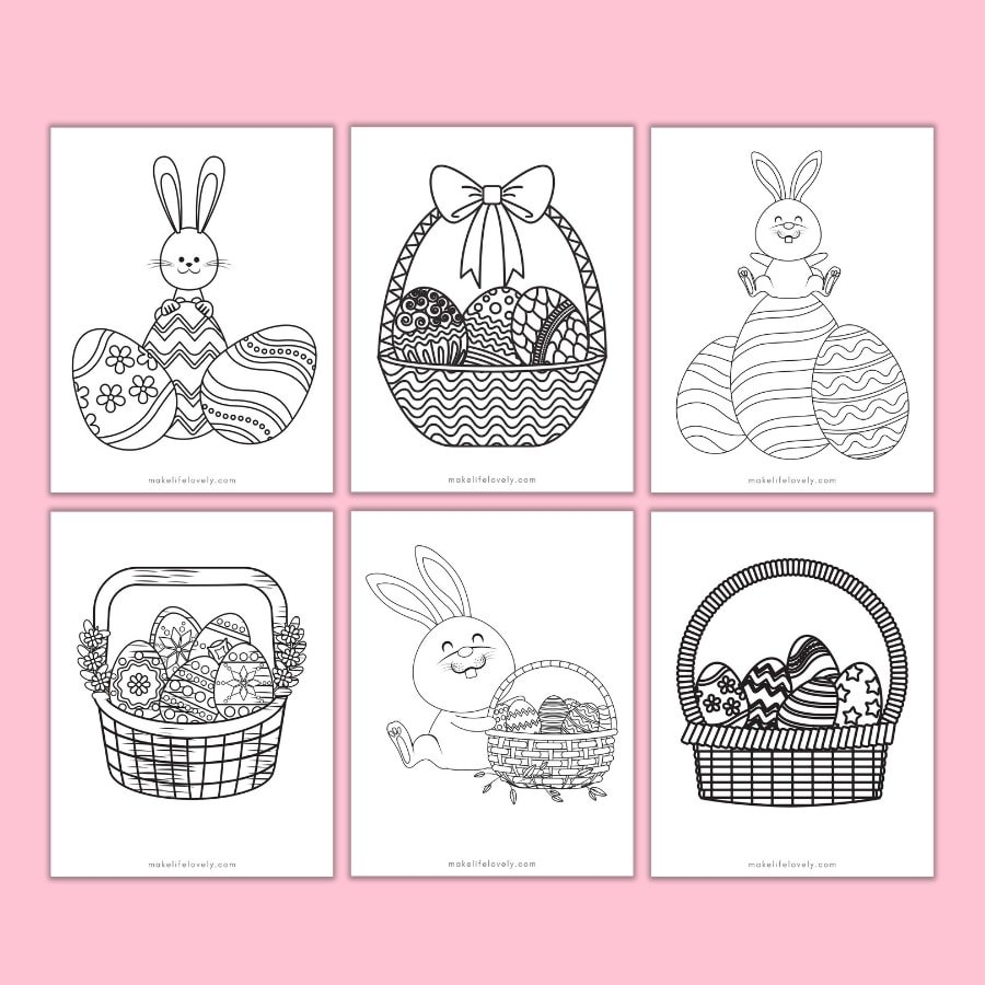 Printable Easter egg and bunny coloring pages