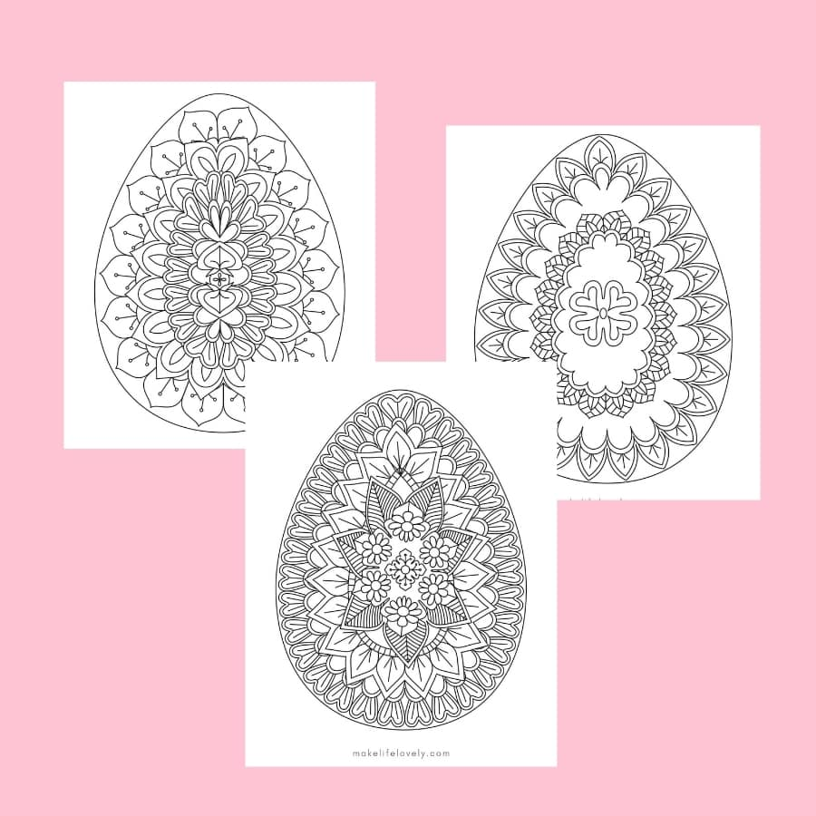 Printable Easter egg adult coloring pages