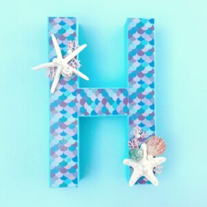 mermaid letter H with mermaid scallops and sea shells