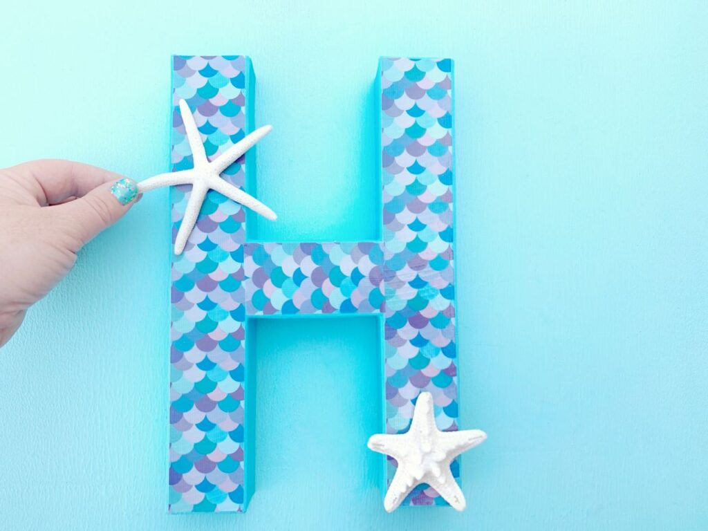 mermaid letter with scallops and starfish