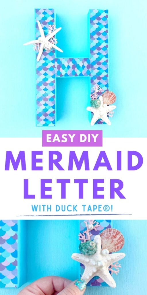 Mermaid letter with scales and shells