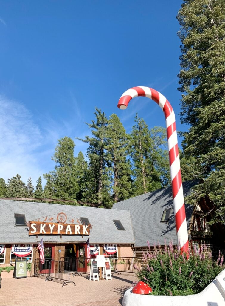 giant candy cane at Skypark at Santa's Village