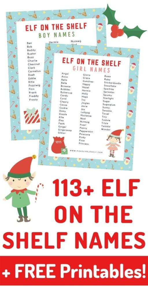 elf on the shelf names sheets