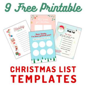colorful Christmas list template prints