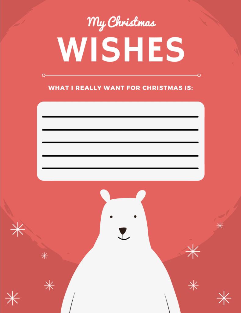 polar bear christmas wish list template